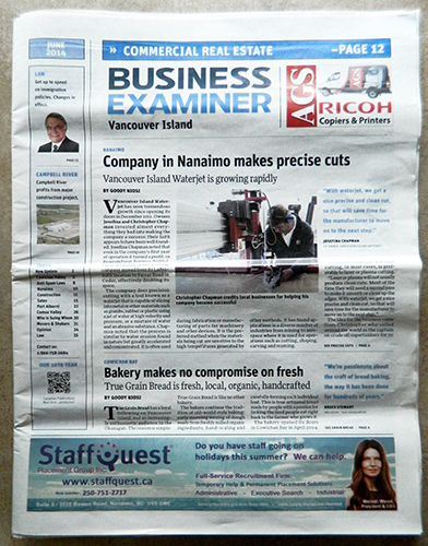 Vancouver island Waterjet on the cover Business Examiner Vancouver Island June 2014